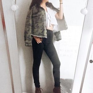 Jackets & Blazers - Camo Crop Jacket